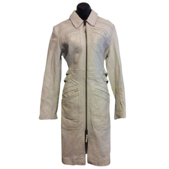 Express Jackets & Blazers - Express White Leather Trench Coat